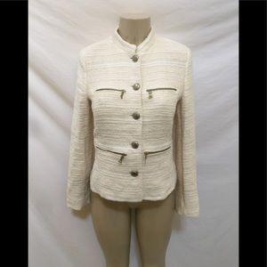 Zara Basic Size M Cream Color Tweed Boucle Jacket